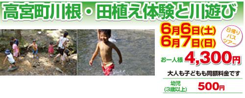 高宮町川根・田植え体験と川遊び
