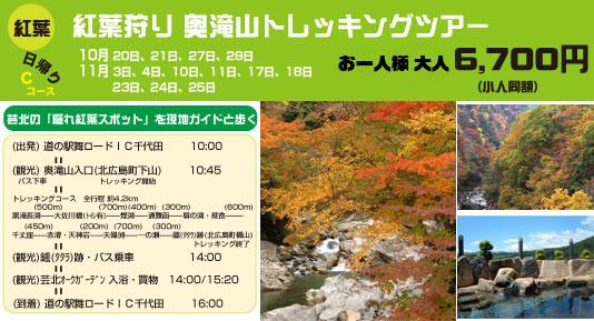 紅葉狩り 奥滝山トレッキングツアー・グリンツーリズム