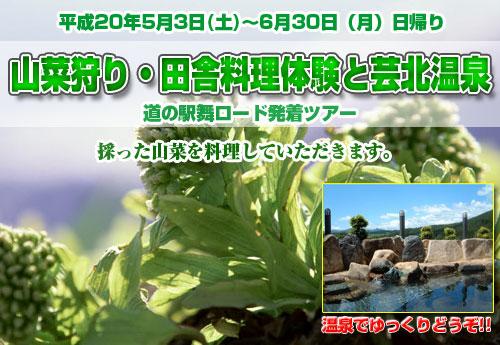 山菜狩り・田舎料理体験と芸北温泉